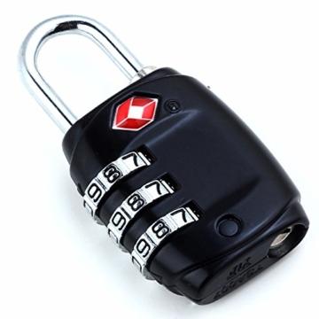 DonDon Reiseschloss TSA Travel Sentry Approved Gepäckschloss schwarz - 1